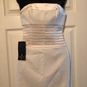 Bebe Ivory Cummerbund Strapless Mini Dress NWT